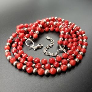 Barse Red Coral Bead Necklace